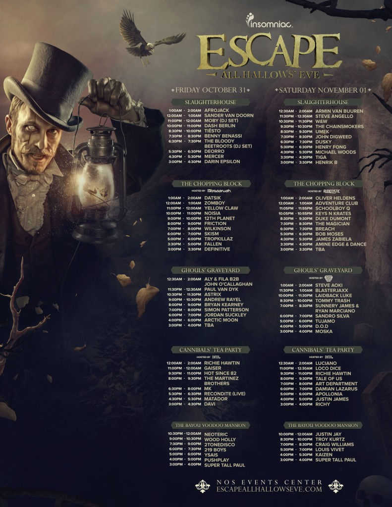 set times are out for escape: all hallow's eve (insomniac halloween