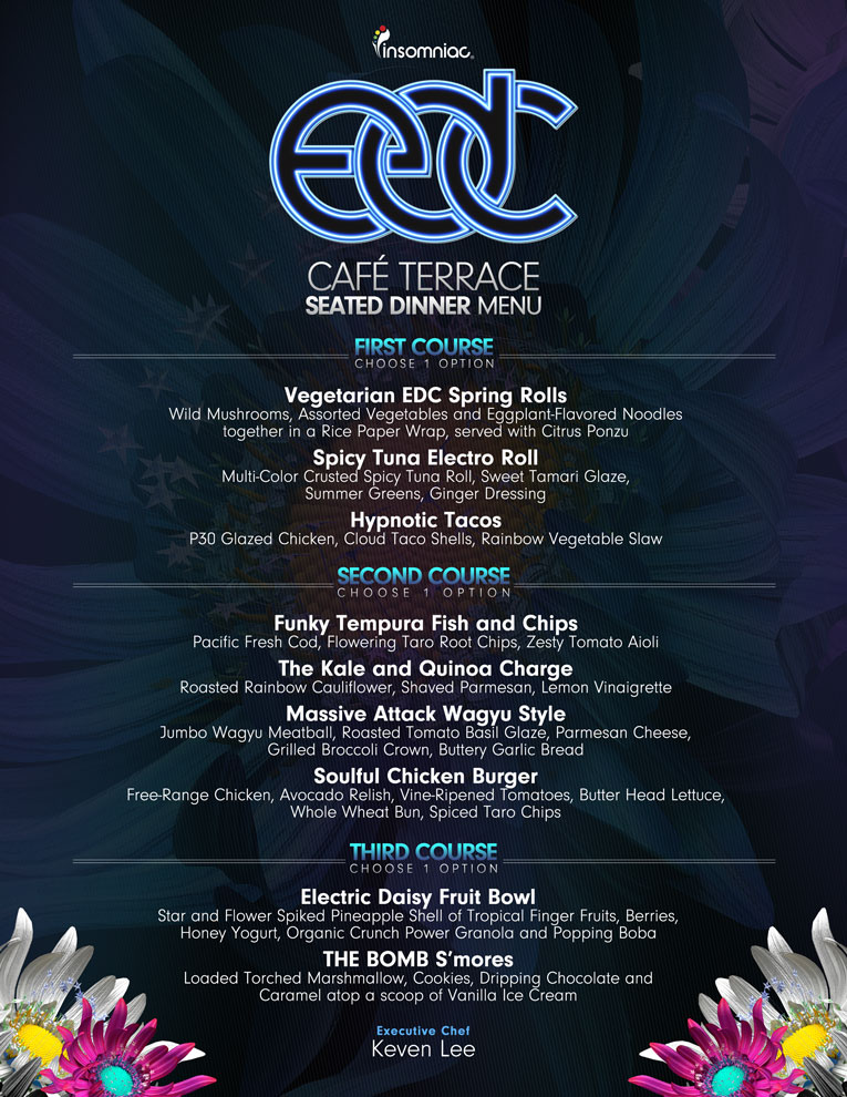 EDCLV 3 Course Seated Dining Menu